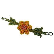 Hand Made artisan Beaded Flower Bracelet
