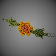 Hand Made artisan Beaded Flower Bracelet