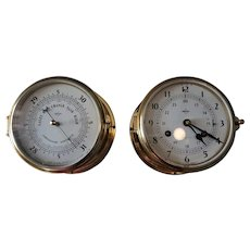 Vintage Nautical  Boston For SWIFT West GERMANY Brass Ship BAROMETER , and CLOCK