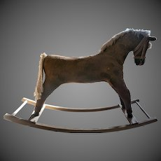 Vintage 20th century childs Straw-filled Wood Rocking Horse in good condition