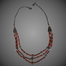 Sterling silver and Coral Necklace three tier