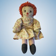 Vintage 1940s Raggedy Ann Doll with Embroidered Facial Features