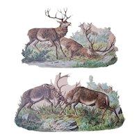 Two Large Vintage Die cuts Hunting Deer