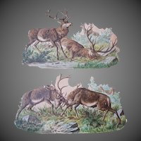 Two Large Vintage Die cuts Hunting Deer