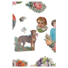 Vintage assorted Die cuts various themes. 1800s early 1900s. Dogs & children