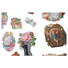 Vintage Assorted pretty Die cuts children women flowers