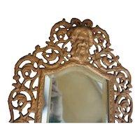 Antique Victorian Brass Mirror Embossed Gargoyles