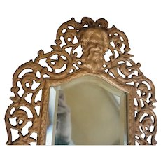 Antique Victorian Brass Mirror Embossed Gargoyles