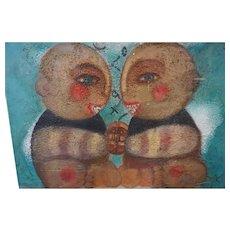 "Original oil Painting by Monique Bavaud titled Patty Cake "" Folk Art"