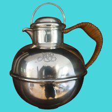 Antique Sterling Silver and Rattan Wrapped Handle Guernsey Milk Jug Personal Teapot Pitcher