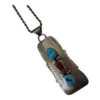"""Vintage Navajo American Indian Sterling Silver coral & turquoise Pendant 18"""" Necklace signed"""