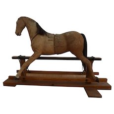 Antique Early Rocking Horse w/ orig hair & glass eyes