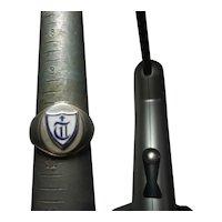 Mens sterling silver blue cross enameled Knights Templar Ring