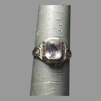 Antique Art Deco 10k White GOLD Rose de France Amethyst ladies Ring
