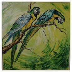 "Vintage  20th Century Original Oil on Canvas Painting, ""Birds"" by, Mitchels"