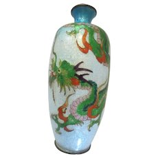 Antique Japanese Ginbari Cloisonne 7 inch Vase with Wisteria 1900 - 1940, Asian
