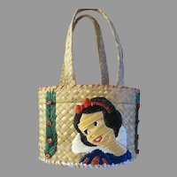 Vintage Walt Disney Snow white straw hand bag Childs Purse