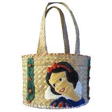 Vintage Walt Disney Snow white straw hand bag Childs Purse