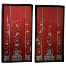 Pr of Antique Chinese embroidered Hand Stitched On Silk Panels