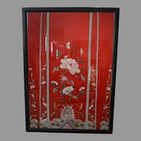 Antique Forbidden stitch Chinese silk textile Framed