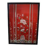 Antique Forbidden stitch Chinese silk textile Framed