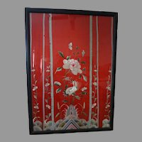 21x31  Red silk forbidden stitch CHINESE antique textile framed
