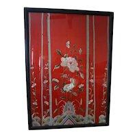 21x31  Red silk forbidden stitch CHINESE antique textile framed