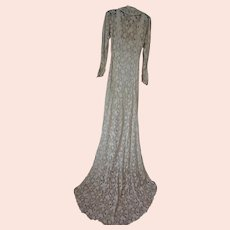 Vintage 1930s Lace & silk Ivory womens Wedding dress