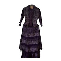 Antique Womens Victorian Silk French Fashion Dress