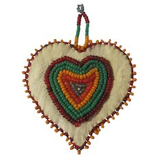 Authentic Vintage Stoney Gruff American Indian Beaded Heart
