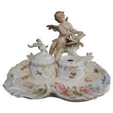 Antique signed German Porcelain double Inkwell cupid writing Love Note