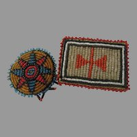 Authentic Vintage  pair of American Indian Beaded Pins Arts & Crafts