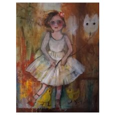 Original Oil Painting By Monique Bavaud Girl with Balloon