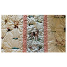 """Vintage 59x90"""" inches hand embroidered Vintage QUILT Boys bedroom with cowboy, horses, cars"""