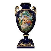 Signed H. gelli hand painted  vintage lamp cobalt blue porcelain Gold embellishments