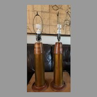 Pair of TRENCH ART Vietnam War Era  ARTILLERY Shell ELECTRIC Table Lamps Original