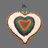 Vintage Native American hand beaded Heart