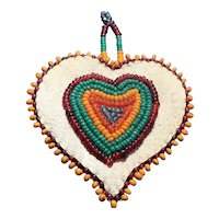 Vintage Native American Indian hand beaded Heart