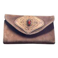 Vintage leather hand tooled carnelian wallet