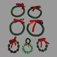 Vintage hand beaded wreath Christmas Ornaments
