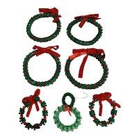 Vintage hand beaded wreath Christmas Ornaments