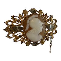 Antique shell Cameo Victorian Brooch