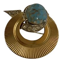 Vintage Boucher Brooch 50s Turquoise