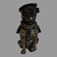 Antique English Painted Spelter Novelty Inkwell, Sailor Bulldog, circa 1900