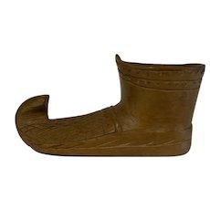 Antique Folk ART carved wooden Shoe