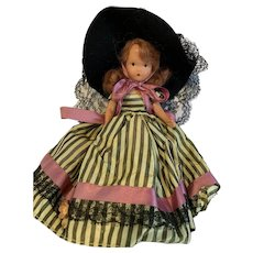"Nancy Ann Storybook Doll ~ jointed leg  Girl Bisque 6.5"" Fancy dress"