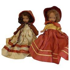 Two Vintage Nancy Ann story book DOLLS both wearing red hoods