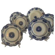 Antique 6pc Flow Blue Plates Perfect Clover