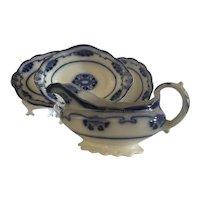 Antique Flow blue Platters and Gravy Boat four pcs