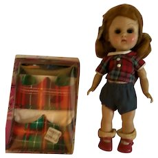 1950s Vintage Ginny walker in Plaid outfit and shoe holder
